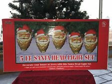 """New Christmas 5 Light 9"""" Santa Head Blow Mold Light Set For Your House Or Trees"""