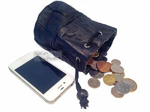 Black Leather Drawstring Wrist Pouch Bag Coin Purse Lined Taxi Phone Camera
