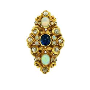 SALE 22ct Gold Diamond Opal & Sapphire Ring (Certified)