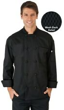 Black Chef Coat Vented Back with Knots Uncommon Threads Unisex Small Nwt