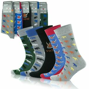 GoWith Men's Cotton Cozy Animal Patterned Crew Socks   5 Pairs   Model: 3512