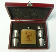 Fireball Whiskey leather flask w 4 shot glasses & funnel rosewood presentation b