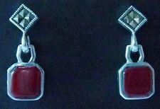 Earrings, Sterling Coral Marcasite Earrings Coral & Marcasite Sterling Dangle