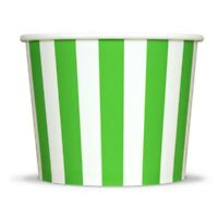 Green Ice Cream Paper Cups - 12 oz Striped Disposable Birthday Party Cups