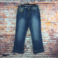 Baccini Womens Size 8 Petite Boot Cut Embellished Medium Wash Denim Jeans