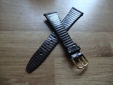 Mens 20mm NOS 1960s JB CHAMPION Brown Lizard Watch Strap, 14mm Goldtone Buckle
