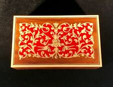 """Vintage Wooden Postage Stamp Box-Italian Marquetry-4.5""""x3""""-w/Vintage Stamps"""