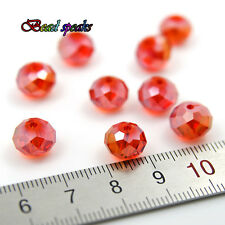 30 pcs 10×8 mm AB Orange Red Faceted Rondelle Glass Crystal Beads CC326