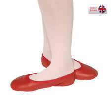 Tappers E I puntatori rosso pieno Suola in Pelle Scarpa Da Balletto Pompa Bambino Taglia 1