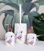 Bürstengarnitur Porzellan Badgarnitur Kakadu Badset WC Bürste Seifenspender