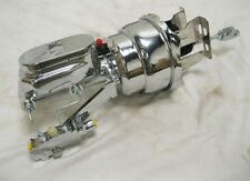 """Chevy Disc Drum 8"""" Dual Power Booster + Smooth Master & Brackets CHROME DISPLAY"""
