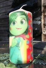 DISNEY's INSIDE OUT FEAT DISGUST AND SADNESS HAND DECORATED PILLAR CANDLE 36hrs