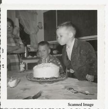 Found Black & White Photo - Young Boy Blowing Out Birthday Candles July 1957