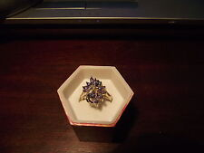 14 ct yellow gold marquise cut cluster tanzanite and diamond ring