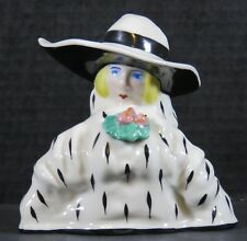 French Art Deco Inkwell Woman with Hat Bust Made in France Porcelain Rare