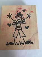Boy in Love Hearts by Judith Wooden Mounted Stamp School Days Striped Shirt