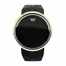 Techno Pave Gold Digital Touch Screen Sports Smart Watch Black Silicone Band