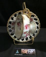 Royal Sealy Japan cup & saucer set with stand roses design