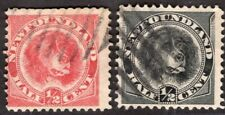 NEWFOUNDLAND CANADA 1887/96 STAMP Sc. # 56 AND 58 USED DOG