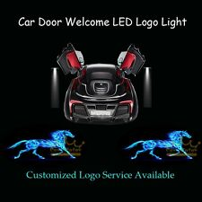 2x 3D Blue Flaming Pony Horse Logo Car Door Projector LED Light for Ford Mustang
