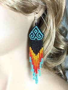 HANDCRAFTED BLACK TURQUOISE BLACK BEADED FASHION HOOK EARRINGS 5 INCHES E54/10