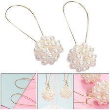 Women Alloy Pearl Round Ball Long Pendant Dangle Drop Hook Earrings Jewelry Gift