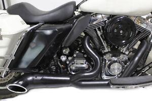 """Black 2-1 Turnout Exhaust 3"""" Header for Harley FL Models 1996-2016"""