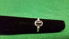 Vintage STERLING SILVER CHILD'S RING w Black Enamel Pinky Ring Size 3.75