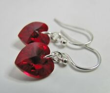 Earrings Made With Swarovski Siam AB Red Heart & Solid 925 Sterling Silver