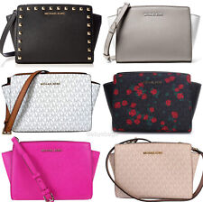Michael Kors Selma Medium Messenger Bag Crossbody MK Signature Fuchsia Cement