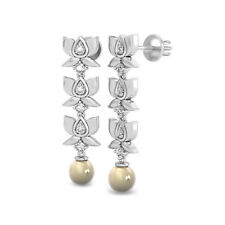 Unique Lotus Drop-Dangle Style In Pure 10K White Gold, White CZ & Pearls Earring