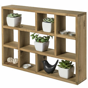 MyGift 9 Slot Wall Mounted Vertical or Horizontal Rustic Wood Floating Shelves