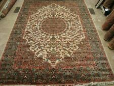 Ivory Birds Hand Knotted Rug Wool Silk Carpet (9 x 6)'