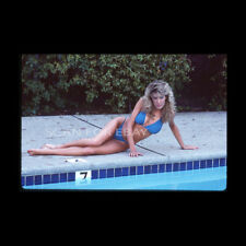 Non Nude 35mm Transparency Slide Busty Blonde 1980s Swimsuit Bikini Pinup a14.11