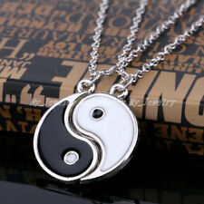 2Pieces Puzzle Ying Yang Yin Couple BEST FRIENDS Enamel Necklace Pendant Gift