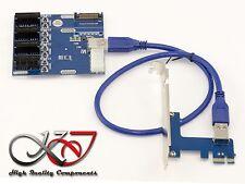 Riser convertisseur PCIe 1x vers PCIe 4 ports - Plaque d'extension PCI EXPRESS
