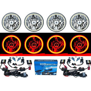 "5-3/4"" Red COB SMD LED Halo Angel Eye 6000K 6K HID Light Bulbs Headlights Set"
