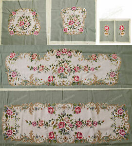 Light Olive Victorian Blooming Roses VTG Reproduction Chair Sofa Cover Sets