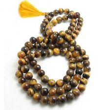 "Delicate Tibetan 108 6mm Tiger Eye Prayer Beads Mala Necklace -27"" Golden Tassel"