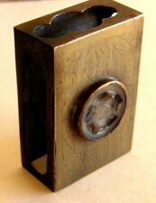 ANTIQUE CHINESE BRASS MATCH HOLDER WITH HAND CHASED DESIGN CARVED JADE IN BEZEL