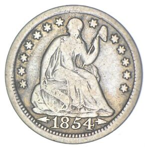 5c **1/2 Dime HALF** 1854 Seated Liberty Half Dime Early American Type Coin *288