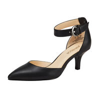 Women's Mid Heels Pumps D'Orsay Sandals Ankle Strap Pointed-Toe Stilettos Shoes