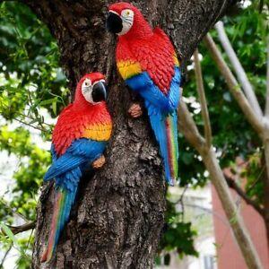 1PCS Resin Parrot Bird Statue Outdoor Garden Ornament Wall Tree Lawn Decor UK