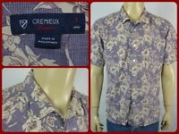 Cremieux Hawaiian Blue White Floral S/S Mens Shirt Large Casual