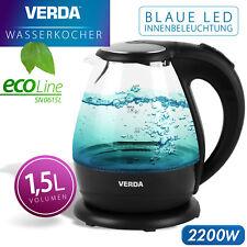 Wasserkocher Verda 1,5L 2200W Kalkfilter LED Beleuchtung Kabelloss Glas SN0615L