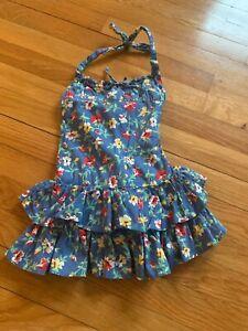 Ralph Lauren 2T Blue Floral Ruffled Halter Sun Dress