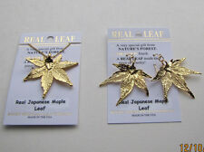 Real Japanese Maple Leaf Necklace and Earrings 24K Gold Finish Brand New