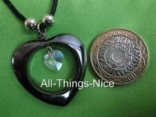 HEMATITE Gemstone LARGE 35mm O Love HEART Goth Black Pendant Necklace Jewellery