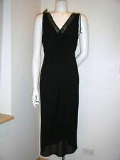 RUBY ROX Women's Sleeveless Black Chiffon Shoulder tie Beaded Dress Gown sz. M