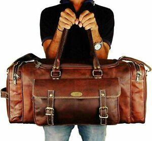 """Large 30"""" Genuine Vintage Leather Duffel Brown Luggage Weekend Travel Sport Bag"""